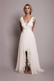 A-Line/Princess V-neck High Low Hem Asymmetrical Lace Wedding Dress