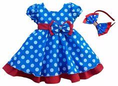 vestido festa azul galinha pintadinha com tiara de cabelo