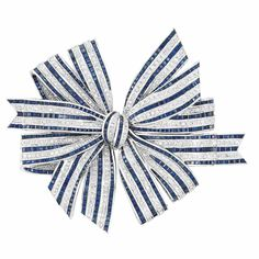 White Gold, Diamond and Sapphire Bow Clip-Brooch 18 kt., the oversized bow designed as alternating rows of round diamonds approximately 3.70 cts., and square-cut sapphires, approximately 41 dwts.