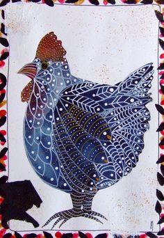 Bündeln Sie malen Hen Aquarell Hen grau Art zeitgenössische Kunst moderne Vogel Art Watercolour original Hen Rooster-Gemälde zeitgenössischer Kunst