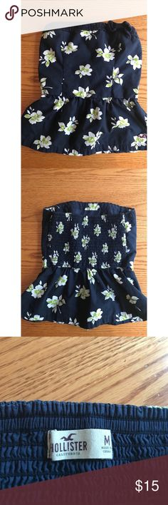 Hollister Peplum Strapless Top Size Medium Blue Floral Peplum Strapless Top Hollister Tops