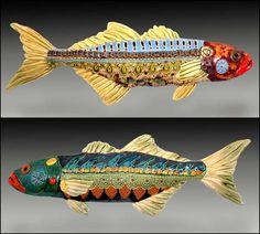 Blue Fish, hand formed wall art.  Crain Art Studio