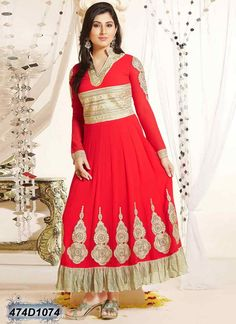 Immaculate Red Coloured Georgette Anarkali Semi stitched Salwar Suit