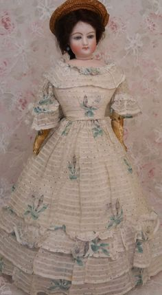 "18"" Antique Gautier French Fashion Doll w Antique Gown, FG Fashion ! from ashleysdollsandantiquities on Ruby Lane"