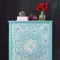 Provence & Old White Chalk Paint® decorative paint by Annie Sloan   Lisboa Tile Stencil from Royal Design Studio   Stenciled Dresser from Me and Mrs. Jones Painted Finishes