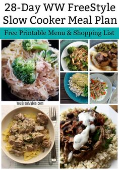 Check out this One Month Meal Plan Printable for WW FreeStyle Recipes! A great Slow Cooker Meal Plan that is easy to print, use, and enjoy while staying in point on the WW FreeStyle Plan! Healthy Crockpot Recipes, Ww Recipes, Slow Cooker Recipes, Family Recipes, Recipies, Slow Cooker Meal Prep, Slow Cooker Pork, Vegetarian Chili Crock Pot, Clean Eating Snacks