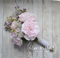 Flores silvestres y ramo de Novia de peonia Bouquet rústico