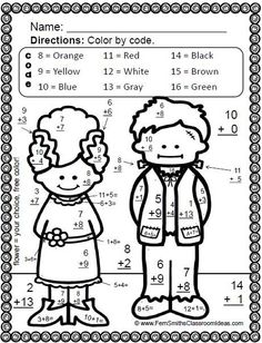 Halloween Fun! Basic Addition and Subtraction - Color Your Answers Printables EIGHT printables and EIGHT answer keys for basic addition and subtraction facts with a FUN HALLOWEEN Theme! #TPT $Paid