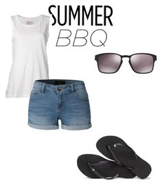 """summer Bbq outfit"" by kassiedianna ❤ liked on Polyvore featuring Current/Elliott, LE3NO, Havaianas, Oakley and summerbbq"