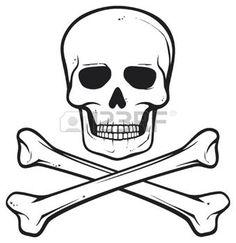 tête de mort pirate: crâne et les os (symbole de pirate) Illustration