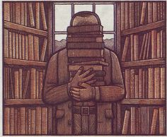 Librarian … anonymous among books by  Clifford Harper (Can you see me now?)