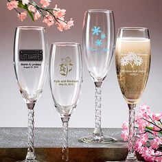 Personalized Champagne Flute with Twisted Stem ***7 Days Processing Time**(Ship Time Not Included)* at FavorWarehouse.com