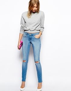 ASOS Whitby Low Rise Skinny Jeans in Watercolour Light Wash Blue with Busted Knees