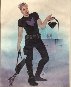 Clint Barton drinking coffee - by Kevin Wada, NYCC 2015. (Note his Black Widow coffee mug!)