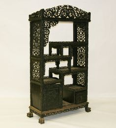 Intricately Carved Chinese Etagere