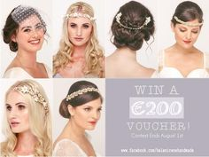 win your favorite wedding headpiece! Bridal Hair Vine, Wedding Hair Accessories, Bridal Headpieces, Hair Accessory, Flower Crown, Irene, Hair Pins, Veil, Wedding Hairstyles