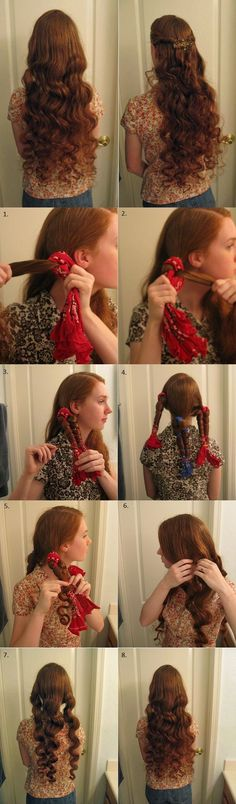 No Heat Bandana Waves - 1.Part damp hair the way you want to wear it & separate sections 2.Fold bandana over section & pull hair out to side (higher sections = more volume) 3.Wrap hair around bandana in a figure-eight 4.For an extra bit of curl on ends, wrap it around same side 5.Secure two sides of bandana below hair with a hair tie 6.Repeat steps 2-5 for remaining sections 7.In the morning, undo ties & gently unwrap hair 8.Split each big wave & lightly finger-comb