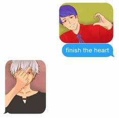 Finish the Heart Kaneki-kun . I don´t have a heart anymore! - Kaneki and Tsukiyama Shuu chat - Tokyo Ghoul Tokyo Ghoul Tumblr, Juuzou Tokyo Ghoul, Ken Tokyo Ghoul, Tsukiyama, Otaku Anime, Manga Anime, Film Anime, Kaneki, Gekkan Shoujo