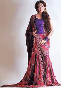 BW8039 Magenta Rose Gharara 100% hand embellished Pakistani wedding dress geometrical patterns Bridal Wear