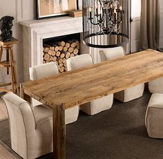 Breakfast Rm Can Put Gl Top Rh Parsons Reclaimed Russian Oak Dining Table