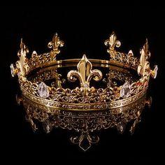 Bridal Accessories Men's Imperial Medieval Fleur De Lis Gold King Crown Adjustable Hi Royal Crowns, Royal Jewels, Tiaras And Crowns, Crown Jewels, Gold King Crown, Kings Crown, Gold Bridal Crowns, Male Crown, Crown Aesthetic