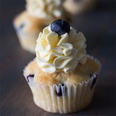 Lemon Blueberry Cupcakes with Swiss Meringue Buttercream
