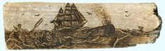 Wood burning on driftwood of a typical 19th century American whaling scene. By Trevor Moody of Dirigo Craft & Supply Co.