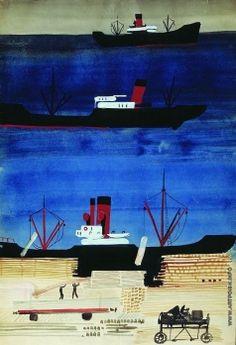 Дейнека А. А. Порт с кораблями, 1929-1930