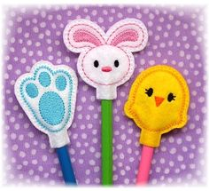Easter Pencil Toppers FELT STITCHIES (in the hoop)