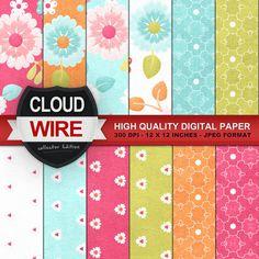 floral digital papers flowers digital paper by cloudwirestudio, $3.50