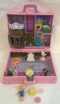 """pollyfan fucks-100 06"""" Vintage 1996 Bluebird Polly Pocket Polly In Paris Pink Suitcase Compact W/  Doll 