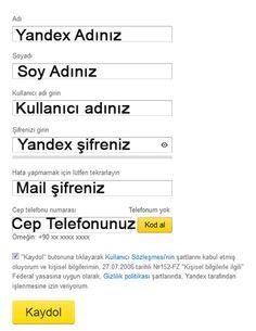 Yandex hesabınızda oturum açma bilgileri