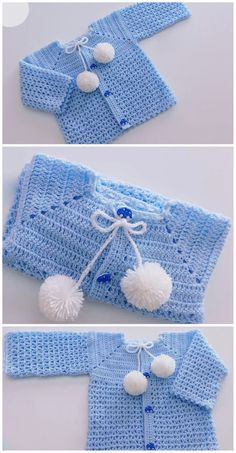 Crochet Easy Baby Sweater Cardigan - Crochet Ideas Crochet Easy Baby Sweater Cardigan Knitting works are the time when ladies spend their leisure time, when they wish to k. Crochet Baby Sweaters, Crochet Baby Cardigan, Crochet Baby Clothes, Baby Knitting, Sweater Cardigan, Free Knitting, Crochet Bebe, Crochet For Kids, Easy Crochet