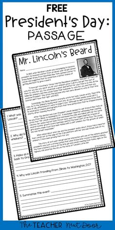 This FREE President's Day reading comprehension passage and questions, tells the true story of how Abraham Lincoln decided to grow out his beard! Your and grade students will enjoy learning about this story while practicing their reading skills. Free Teaching Resources, Reading Resources, Reading Strategies, Reading Activities, Teaching Reading, Learning, Teaching Career, Science Activities, Reading Lessons