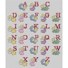 Angel Alphabet Cross Stitch Pattern