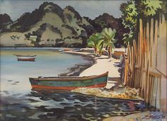 """Large Watercolor For View and Sale  This painting is by James Milford Zornes, prominent in California and American art.This water color painting by Zornes(1908-2008) is in excellent condition, framed and signed.  The image is 29""""x21"""", of a Mexican coastal view.  Zornes' art is in many museums.  I sell as connecticutskier on ebay.  I have perfect feedback and give a total satisfaction guarantee. Contact me at usafineart@gmail.com   Richard Michael SOLD 10/15"""