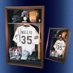 shadowbox memorabilia case with baseball stuff --- Definitely doing this with all my son's T-Ball gear! Baseball Crafts, Baseball Stuff, Baseball Snacks, Baseball Kids, Baseball Boyfriend, Baseball Cookies, Golf Stuff, Baseball Shadow Boxes, Boy Room