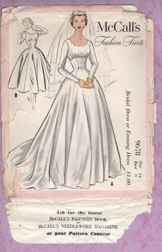 McCalls bridal sewing patterns | Bridal And Evening Gown Sewing Pattern For DIY Wedding Gowns. Vintage ...