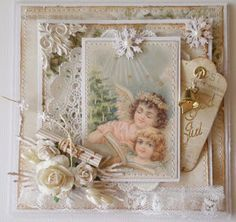 Report from my pysselvrå Christmas Paper Crafts, Christmas Cards To Make, Shabby Chic Xmas Cards, Looks Vintage, Shabby Vintage, Beautiful Handmade Cards, Card Making Inspiration, Pretty Cards, Card Tags