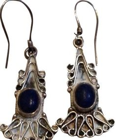 Vintage Sterling Silver Blue Lapis Deco Dangle Earrings