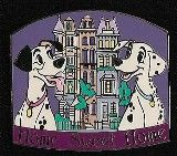 Disney Auctions (P.I.N.S.) - Home Sweet Home (Pongo & Perdita)  From 101 Dalmatians, Pongo and Perdita pose proudly ( in front of the Radcliffs' London townhouse on this upbeat gold-finished character pin, one in a series celebrating 'Home Sweet Home.'  It's a Disney Auctions exclusive in a limited edition. The picture is courtesy of pinpics site.  Size: approx. 1.5 inches x 2.25 inches  Materials: hard enamel