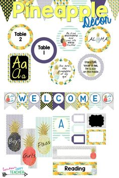 This sweet pineapple decor collection contains over 260 pages of pineapple themed resources (editable) to help you turn your classroom into a pineapple dream. 4th Grade Classroom, Classroom Setting, Classroom Setup, Classroom Design, Kindergarten Classroom, Future Classroom, Classroom Organization, Pineapple Room, Teaching Schools