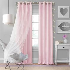 Aurora Kids Room Darkening Layered Sheer Curtain Panel - X - Soft Pink - Elrene Home Fashions : Target Kids Blackout Curtains, Kids Room Curtains, Blackout Panels, Drapes Curtains, Pink Sheer Curtains, Baby Girl Curtains, Princess Curtains, Elegant Curtains, Outdoor Curtains