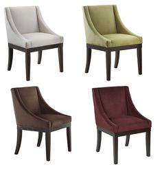 Ave Six Monarch Wingback Fabric Wood Legs Accent Chair Dining Rm Seating - Chairs