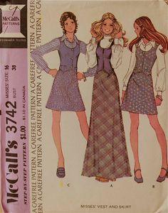 Weste & Bias Rock  70er-Jahre  McCall Pattern von patterntreasury