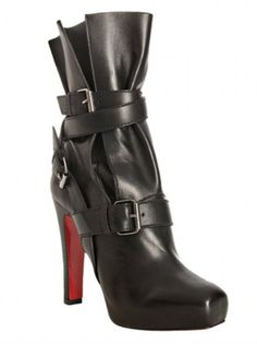 819be067d960 Christian Louboutin Black Leather Guerriere 120 Wrapped Boots Christian  Louboutin Outlet