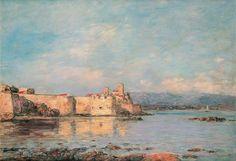 """Città e paesi. Eugéne Boudin: Il porto di Antibes. Olio su tela del 1893. Museo delle Belle Arti di Nizza. Era molto abile nelle sue marine ed era un raffinato precursore dello stile impressionista. Ebbe la stima di Monet che si riteneva debitore nei suoi confronti e diceva:""""Se sono diventato pittore lo devo a Eugéne Boudin, è a lui che devo l'educazione definitiva del mio occhio""""."""