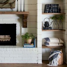 6 Awesome Tips: Fireplace Tile Bathtubs decorative fireplace screen.White Fireplace Cover fireplace makeover before and after.Tv Over Fireplace Christmas. Fireplace Cover, Fireplace Shelves, Fireplace Built Ins, White Fireplace, Farmhouse Fireplace, Living Room With Fireplace, Fireplace Design, Fireplace Mantels, My Living Room