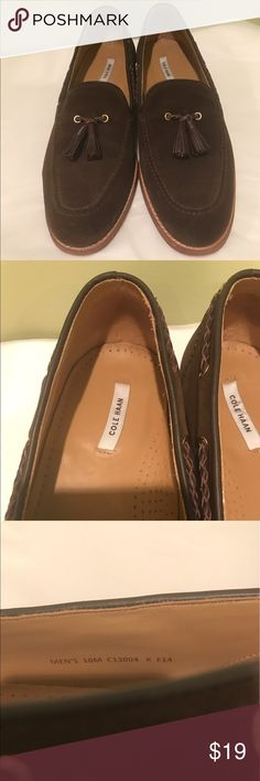 Men's Cole Haan tassel loafers. US Size 10M. Men's Cole Haan tassel loafers. US Size 10 M. Brown suede with braided leather cord and leather tassel. Gently worn. Price is firm. See bundle discount. See pictures for heel and shoe height. Cole Haan Shoes Loafers & Slip-Ons