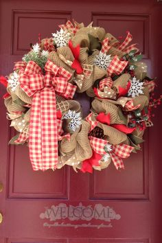 Country Christmas wreath, Red & Tan Check, Burlap Mesh Wreath
